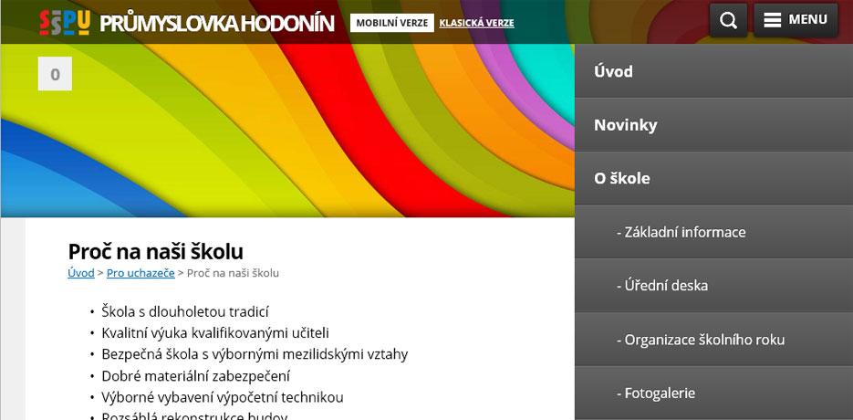 Menu mobilní verze stránek